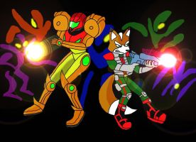 Fox and Samus by gameboy7793