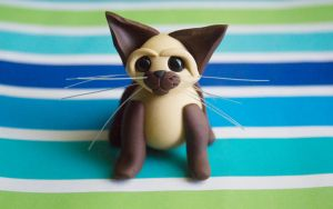 polymer clay miniature kitty by l337Jacqui