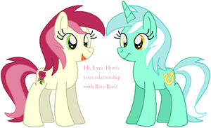 Roseluck and Lyra by HeartinaThePony