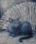 CAT FAN - Oil Painting by AstridBruning