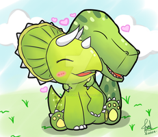 Commission - T-rex x Triceratops ^^ by Kirara-CecilVenes