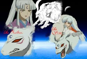 Sesshomaru and his mom by KireiKitsunechan