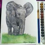 Baby Elephant Painting by stardust12345