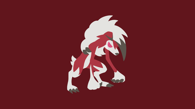 Minimalistic Wallpaper: Lycanroc Midnight (#745.2) by MardGeerT