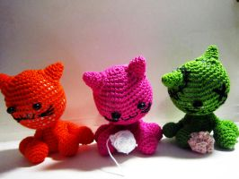 Three Cats Crochet Dolls by Nissie