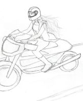 Kyoko Motorcycle Sketch 2 by AsjJohnson
