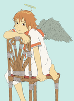 Haibane Renmei - Rakka Colour WIP by Judan