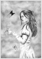 She with the butterflies by Zindy