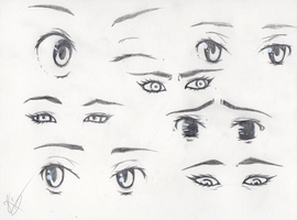 Manga and comics female eyes references by Kokorvesa