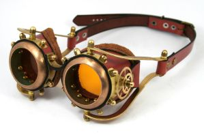 steampunk goggles rusty brown leat by Nabidee
