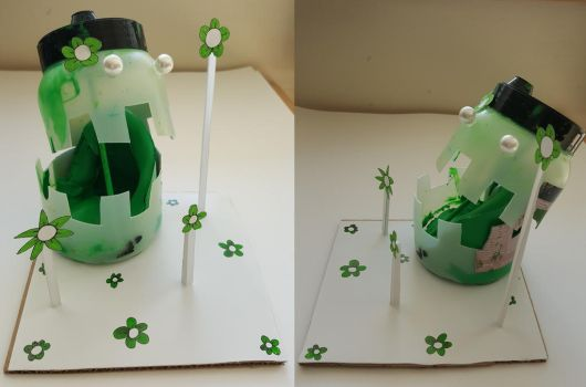 Green Paint Can Sculpture by TeleviCat