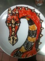 Halloween Dragon Cake Plate by Adriellovesart