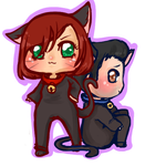 Femshep and Kaidan Halloween Chibi by Tsukahime