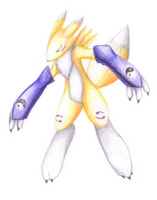 Renamon (pencil) by rockmanzxadvent