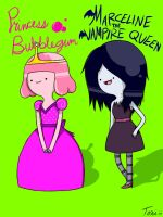 Little Bubblegum and Marceline -Improved Version- by Pencil13