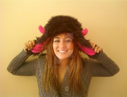 Black Furry Monster Bomber Hat by Brutemusandfriends