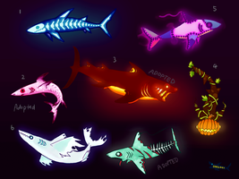 (open) Halloween Shark Adopts by canned-sardines