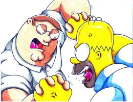 peter vs homer by trunks24