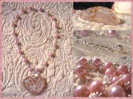 Think Pink III Necklace by karemelancholia