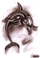 Dolphin Charcoal Sepia Study by PauloDuqueFrade