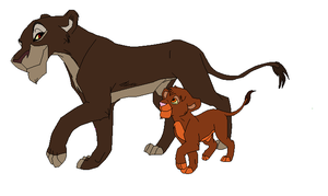 teenage lioness and cub base by TomisAnimals