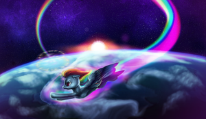 Rainbow Dash: Sonic Rainboom by ElkaArt
