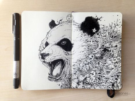 MOLESKINE DOODLES: Black and White Cat-Foot by kerbyrosanes