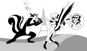 Pepe le pew and the Skunk girl, alias Lester by LoulouVZ