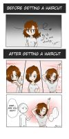 Before and after getting a haircut by Sasumi616889