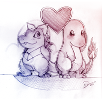 Totodile and Charmander by cottonball