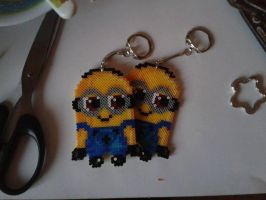 Minions Perler-keychains by Awi87