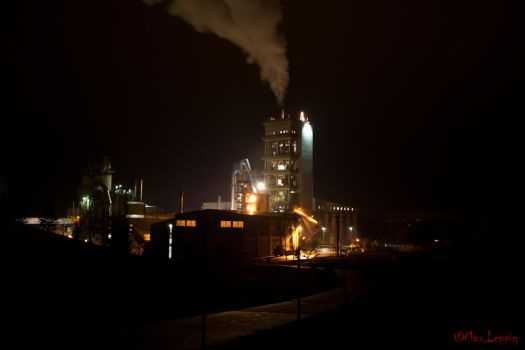 Cement Factory by night by MaxLeppig