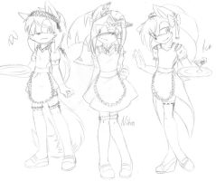 .:Sketch:. Cute ukes in different maid costumes x3 by SilverfanNumberONE