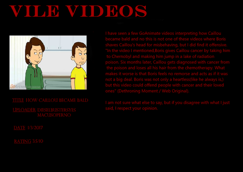 Vile Videos #1: How Caillou Became Bald by Murvine-Taylor