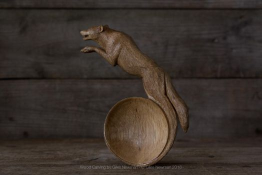 'The Call' - Hand Carved Oak Wolf Spoon by Giles-Newman-Carving