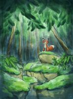 Fox in the woods by MargoMeiko