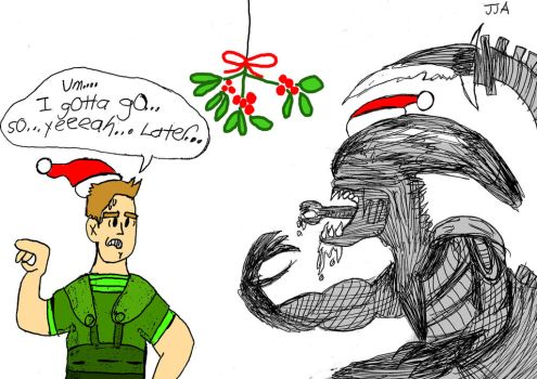 Mistletoe time with a Xenomorph by jared811111