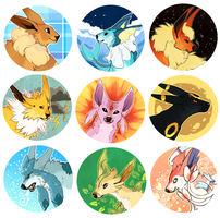 Eeveelution Button Set by Susiron