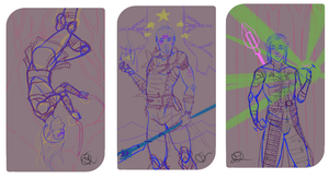Dragon Age tarot cards sketches by Mudzi