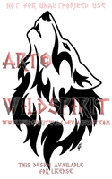 Howling Wolf Head Tribal Design by WildSpiritWolf