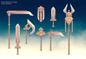 Dwarven Weapons Concept by slipled