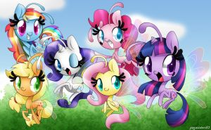Mane 6 Breezies Wallpaper by PegaSisters82