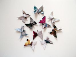 Origami Butterfly Stickers by blushampo0