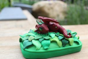 Red Leafy Polymer Clay Dragon Sculpt by RaLaJessR