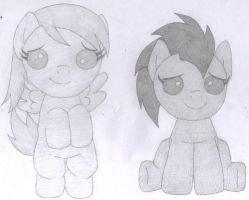 Baby Doctor Whooves and Derpy by gothgirl9678