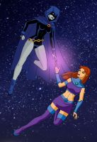 Raven and Starfire by Shiera13