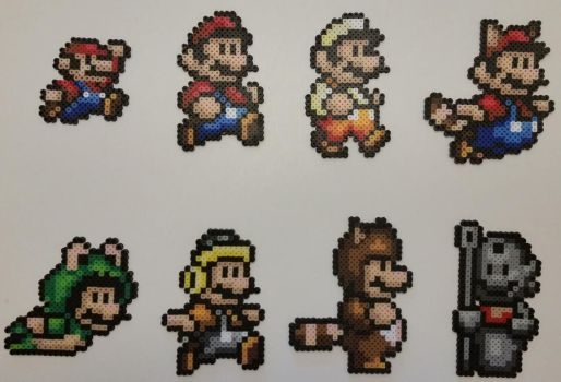 Super Mario All-Stars - SMB3 Power-Ups Perlers by jrfromdallas
