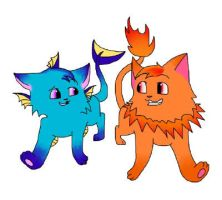 hot n cold fakemon cats by krazykatdrawer
