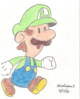 Paper Luigi Drawing by MarioSimpson1