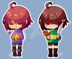 Frisk Chara Chibis by SandraGH